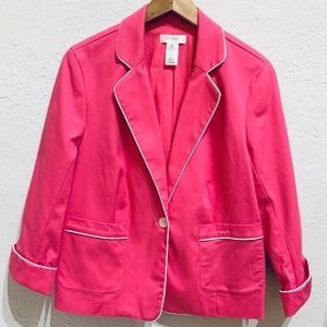 Isaac Mizrahi for Target Pink Blazer White Piping